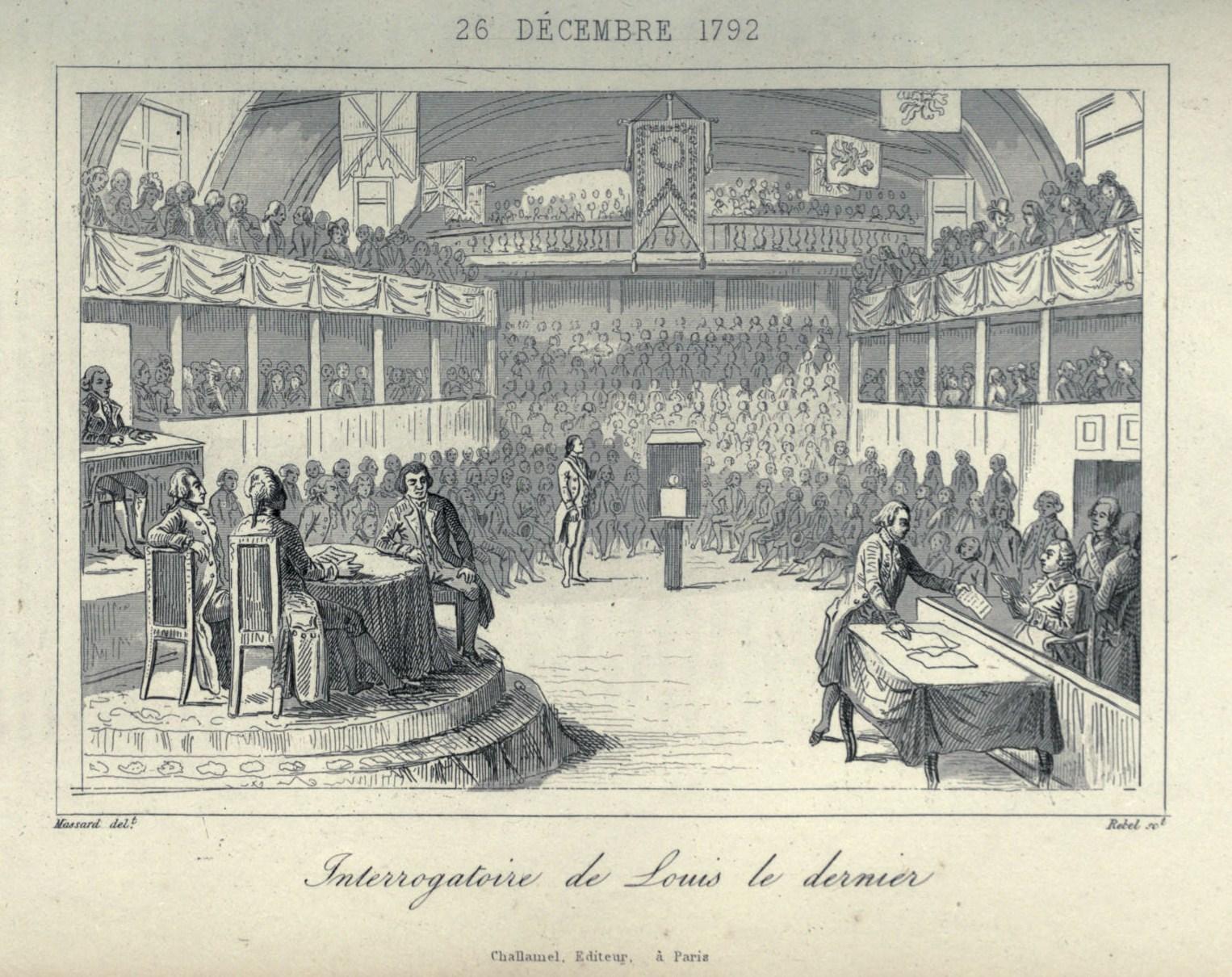 Procès de Louis XVI. © Auteur inconnu. Extrait « Histoire-musée de la république Française, depuis l'assemblée des notables», d'Augustin Challamel, Paris, Delloye, 1842.